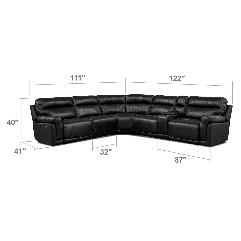 Living Room Furniture - Antonio Black 4 Pc. Power Recl. Sect. w/ Music Console (Reverse)