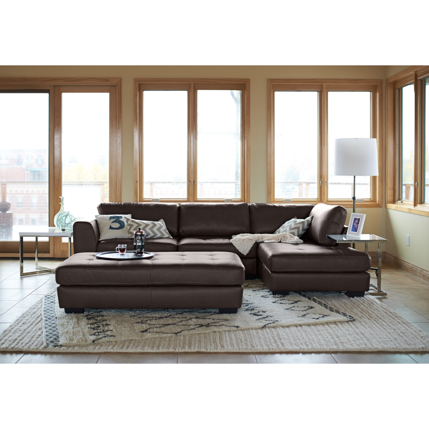 Ciera Leather 2 Pc Sectional Reverse Value City Furniture