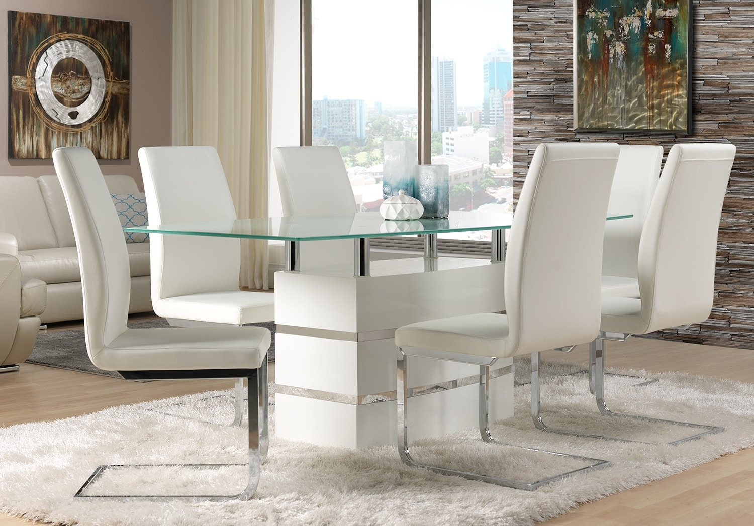 Dining Room Furniture - Altair 7-Piece Dining Room Set - White