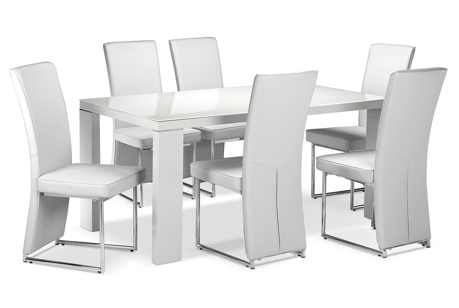 Dining Room Furniture - Bleecker 7 Pc. Dining Room Package - Light Grey