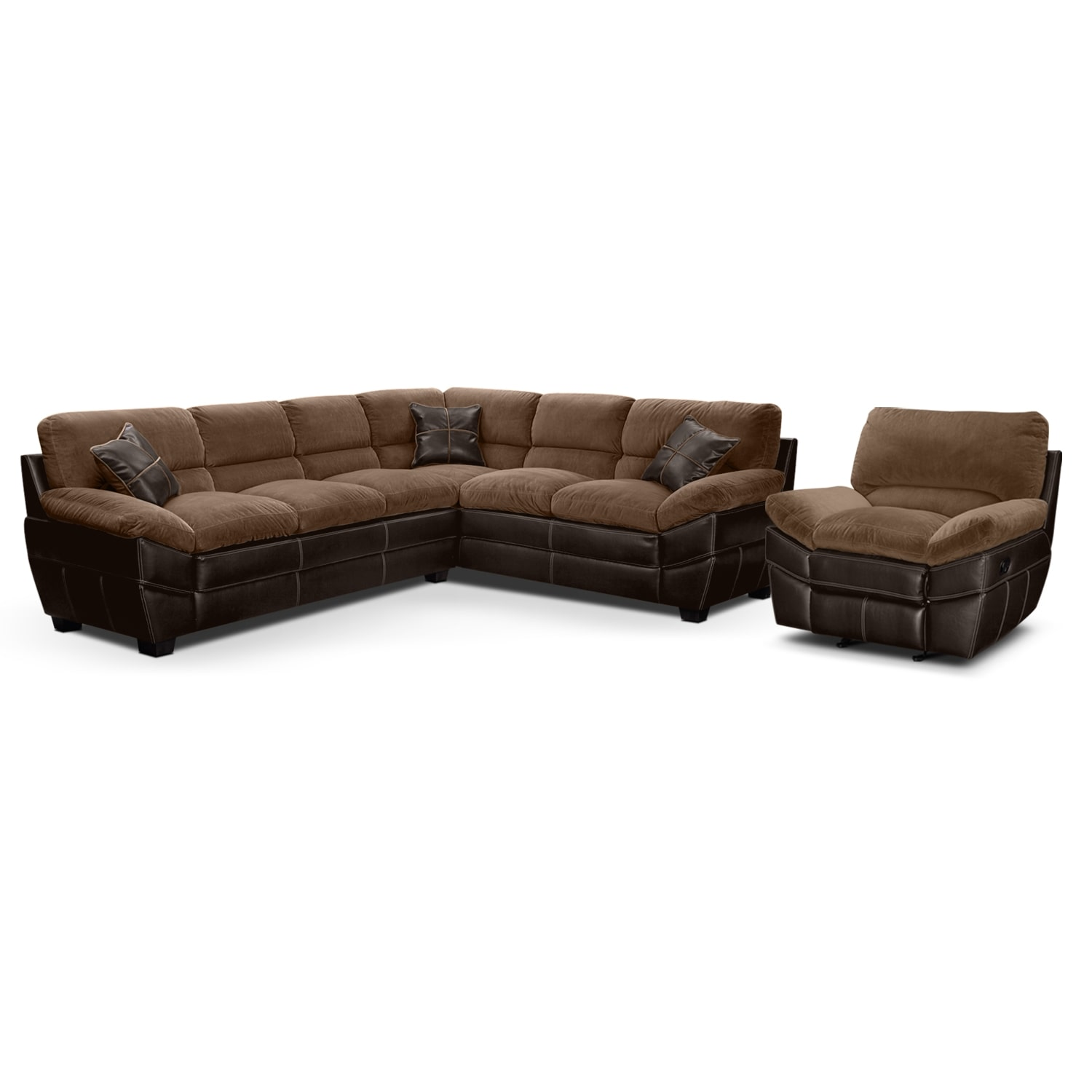 [Chandler Beige II 2 Pc. Sectional and Glider Recliner]