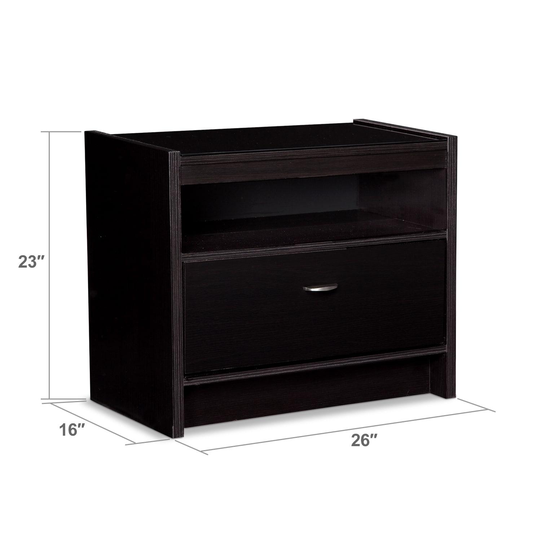 Bedroom Furniture - Kendall Espresso Nightstand