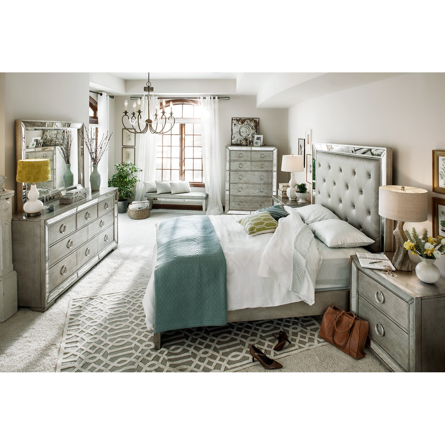 Bedroom Furniture: Angelina 5-Piece King Bedroom Set - Metallic