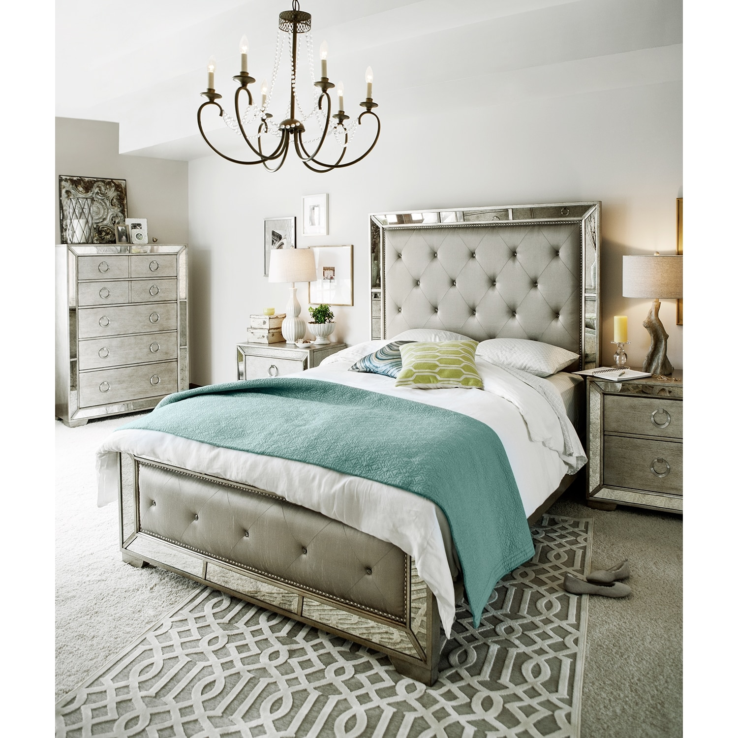 angelina queen bed metallic american signature furniture. Black Bedroom Furniture Sets. Home Design Ideas