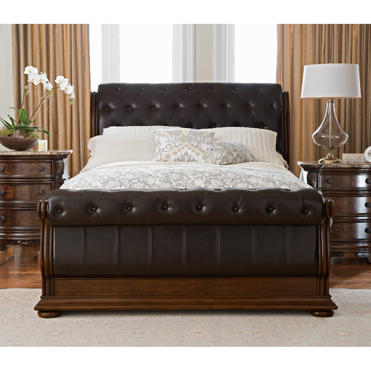 monticello 6 piece king sleigh bedroom set pecan value city furniture. Black Bedroom Furniture Sets. Home Design Ideas