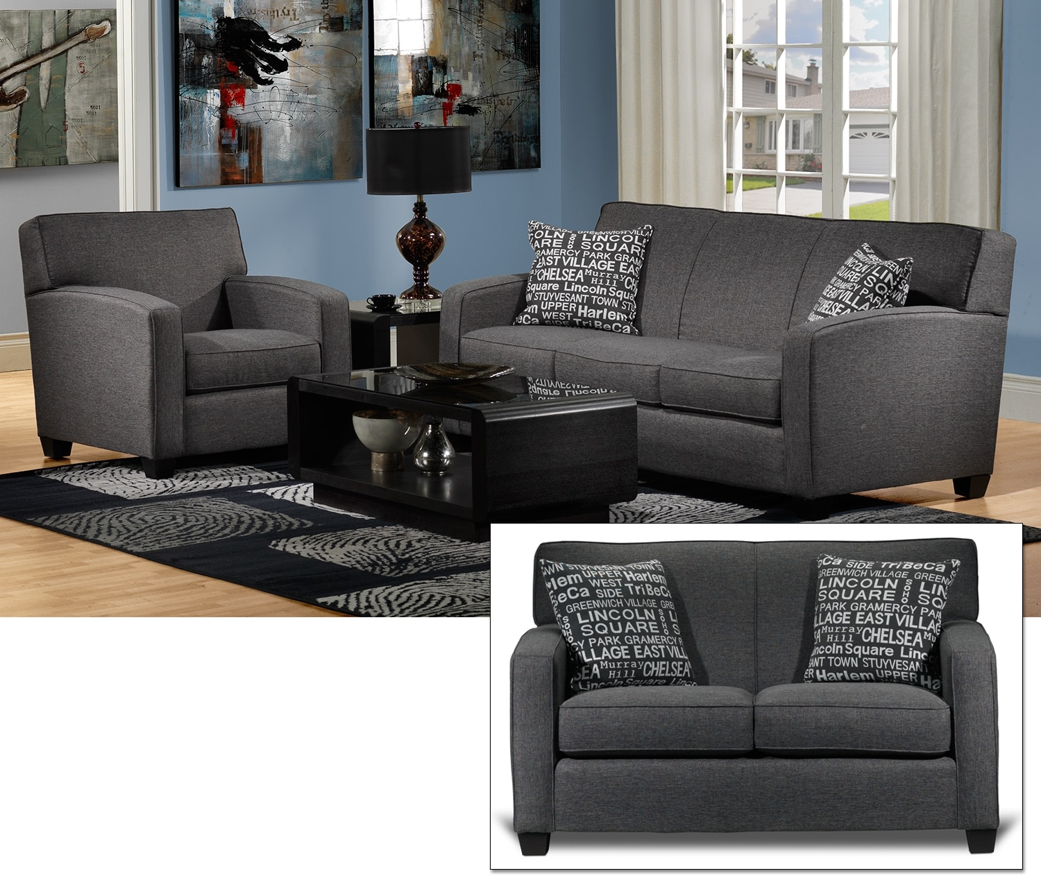 Falcon 3 Pc. Living Room Package - Graphite