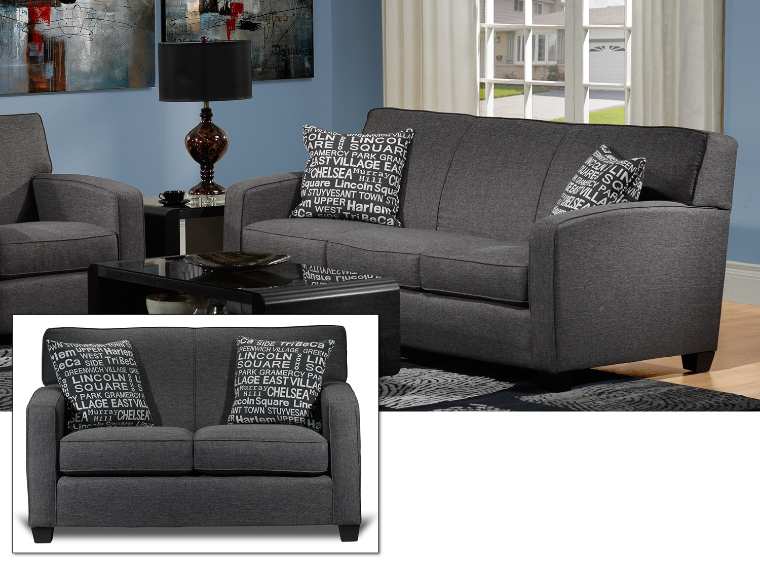 Falcon 2 Pc. Living Room Package - Graphite