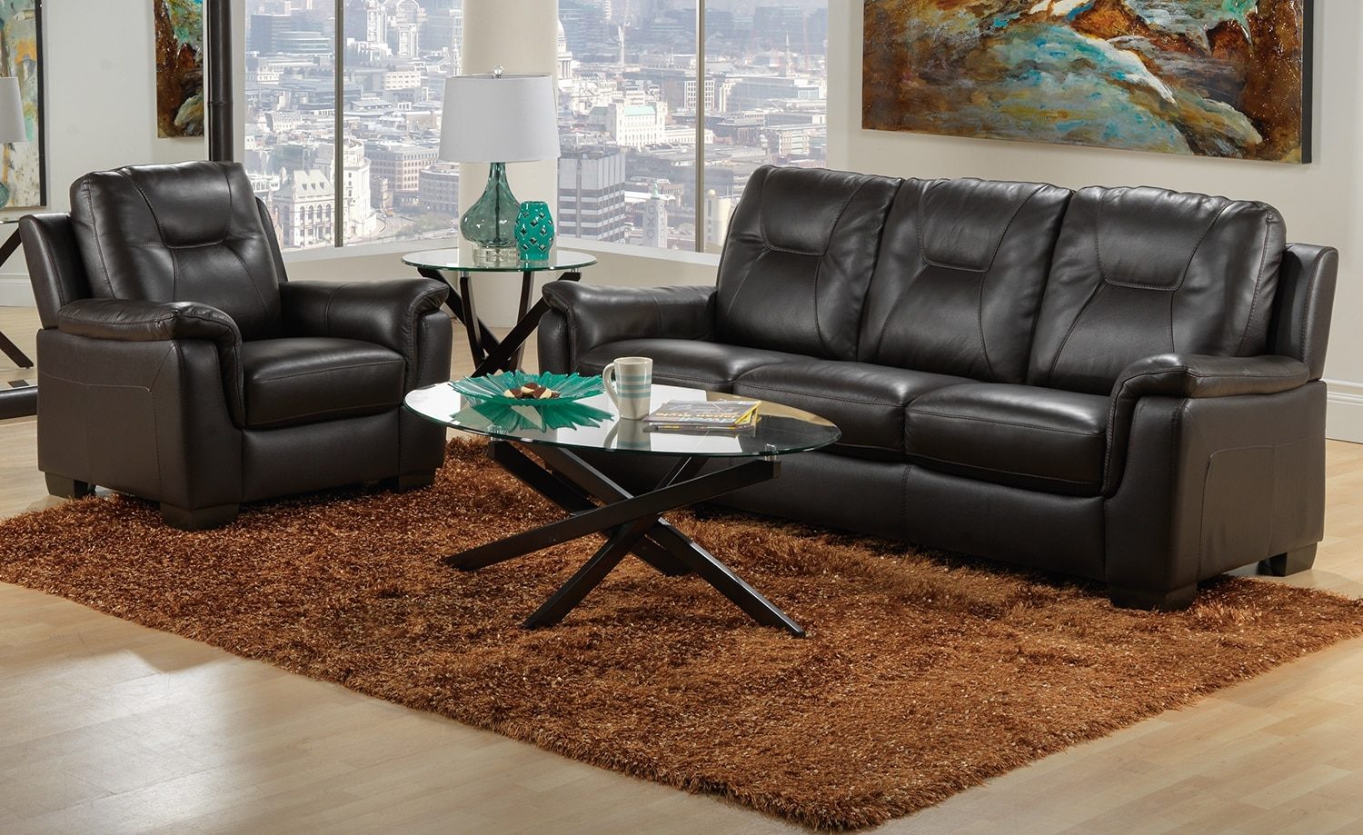 Dalia Sofa and Chair Set - Espresso
