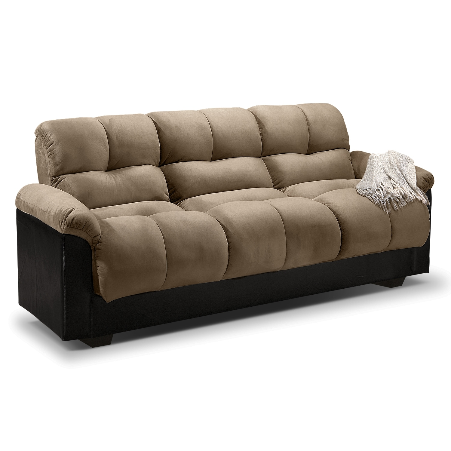 Crawford futon sofa bed with storage for Sofa bed futon