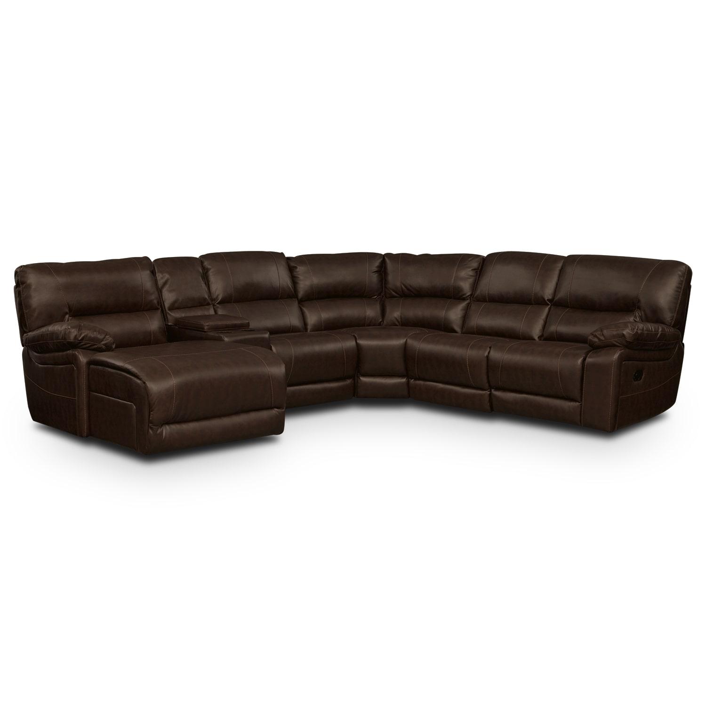Living Room Furniture - Durango Godiva 5 Pc. Reclining Sectional (Reverse)