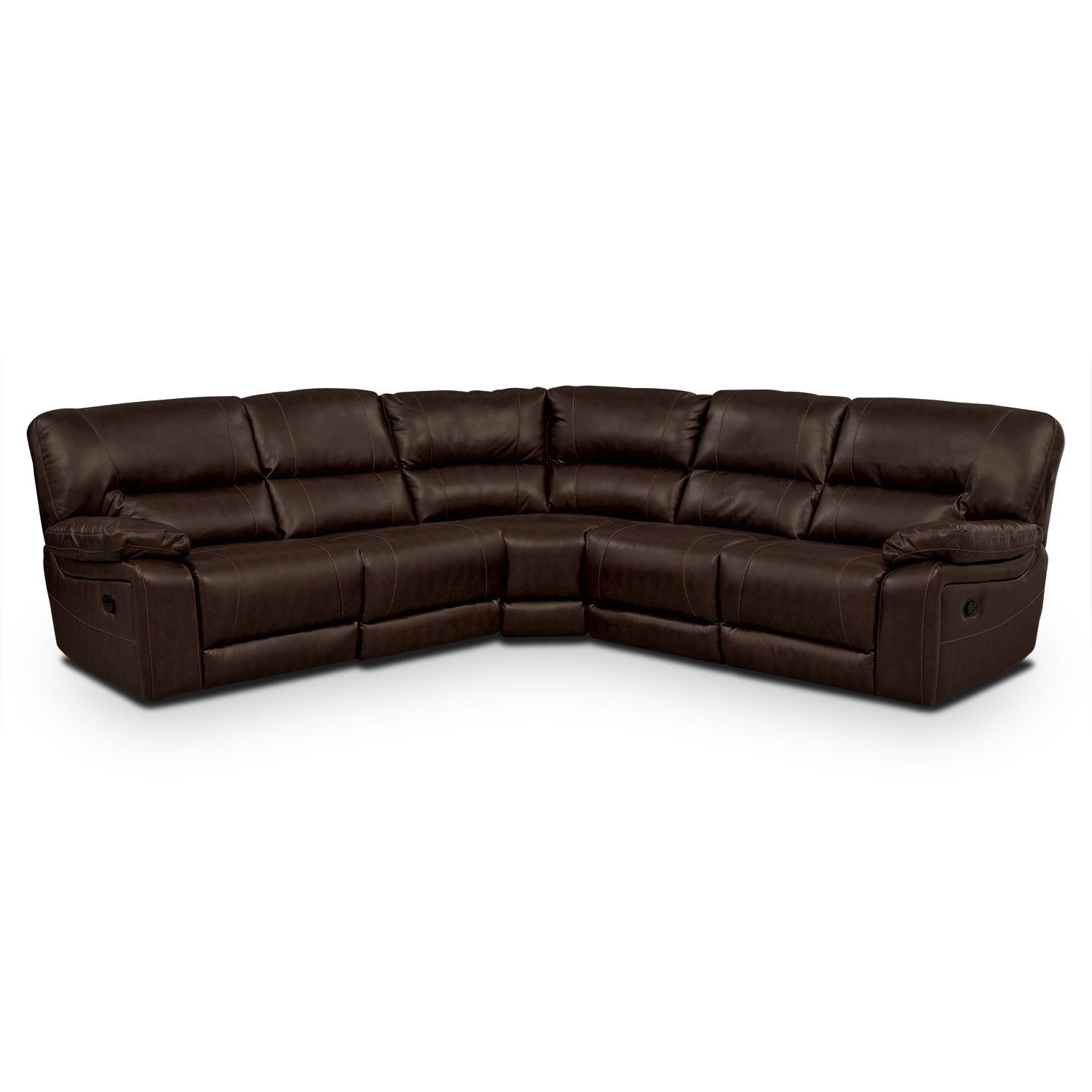 wyoming godiva leather 3 pc reclining sectional value