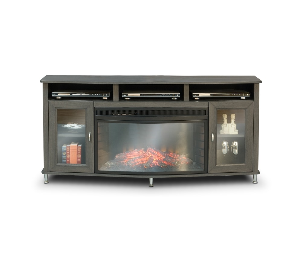 Televisions - Westfall Fireplace Credenza - Grey