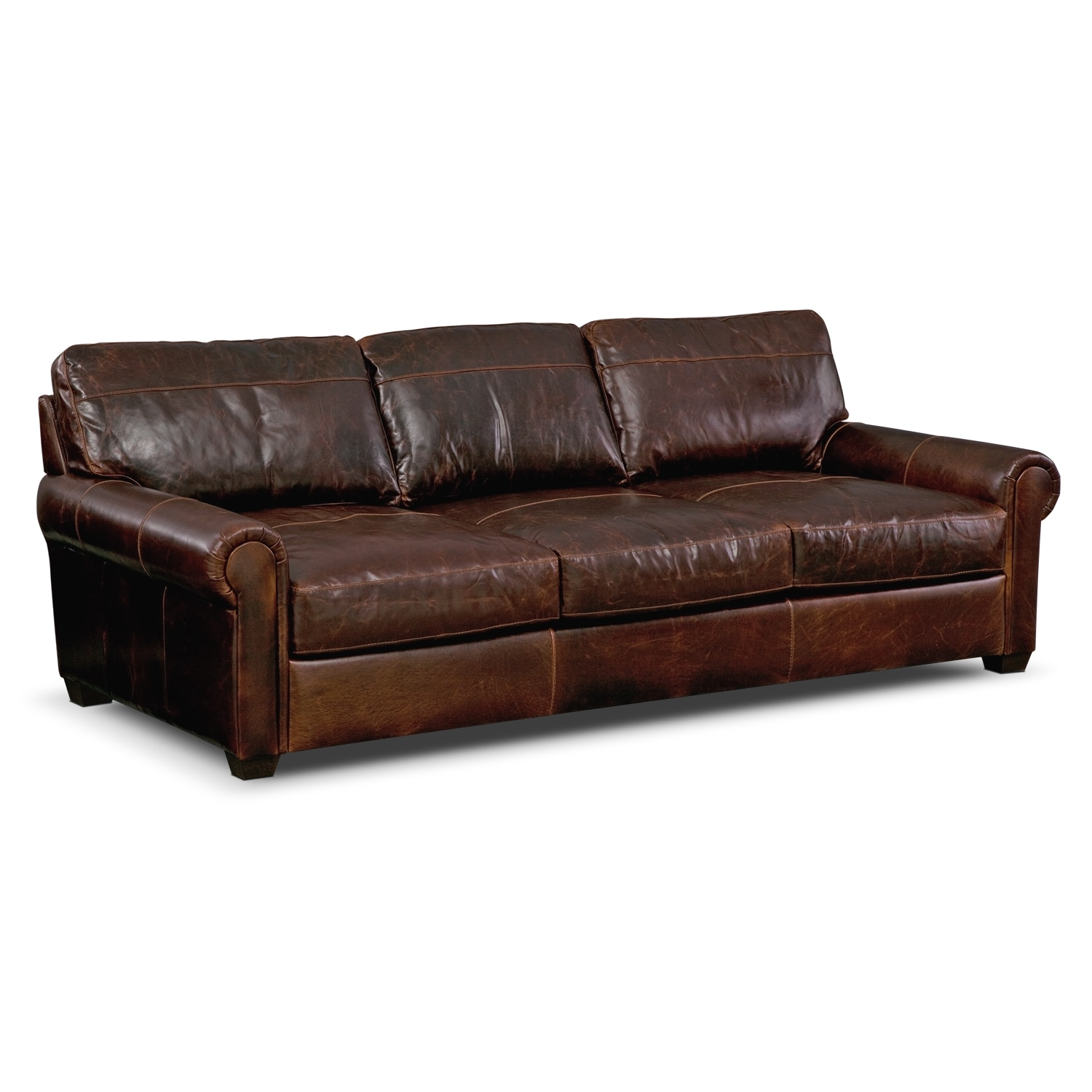 Burnham leather sofa value city furniture for Furniture leather sofa