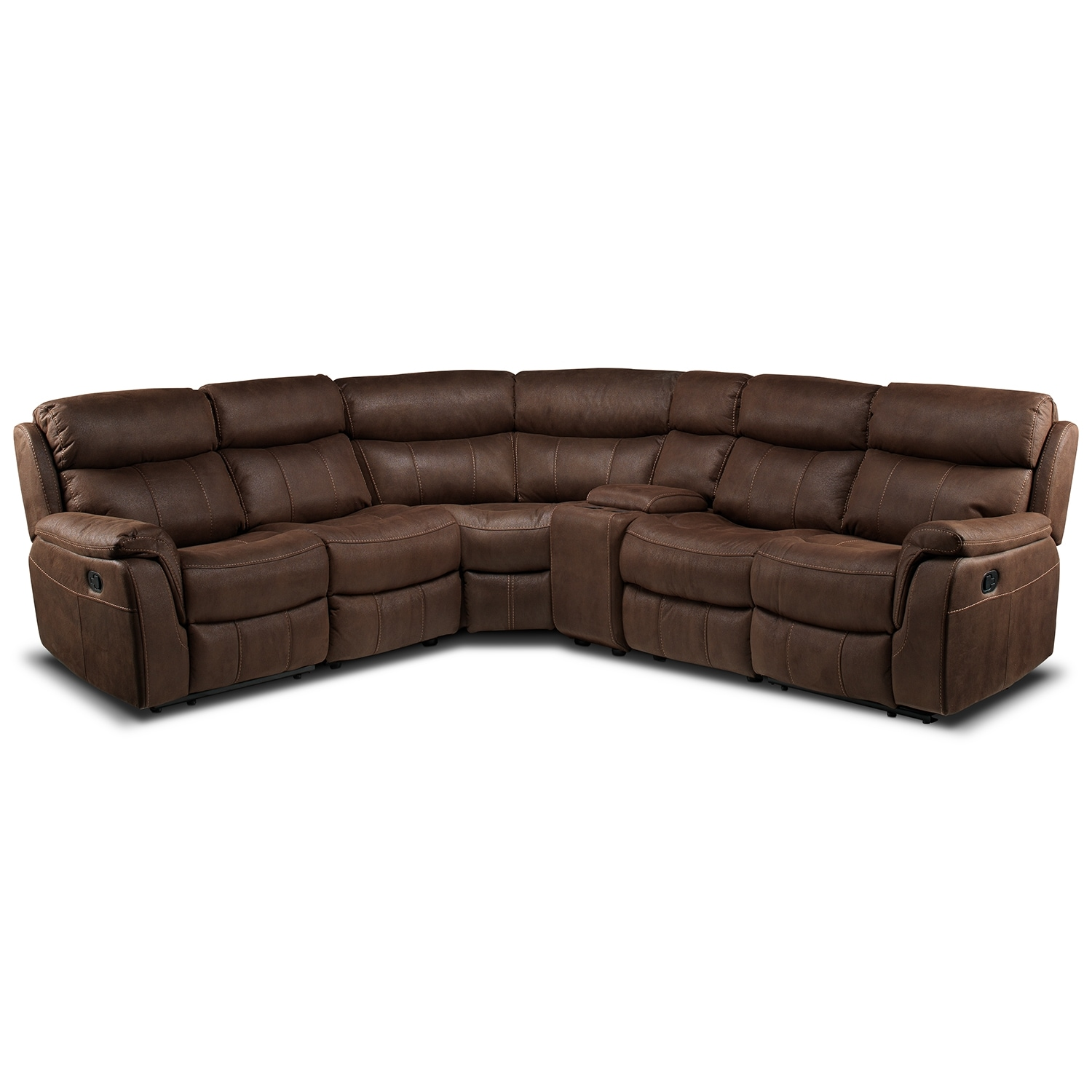 Vaquero 6 piece reclining sectional saddle brown leon 39 s for Living room furniture pieces