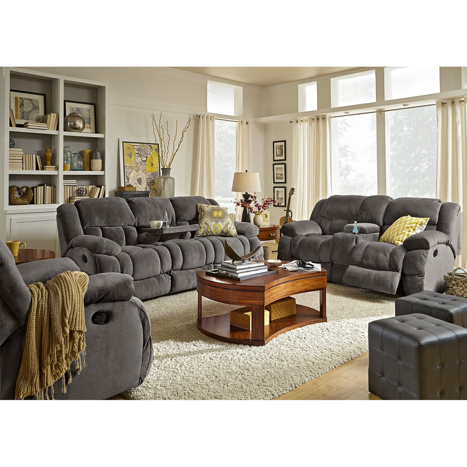 Park City Dual Reclining Sofa Gray Value City Furniture