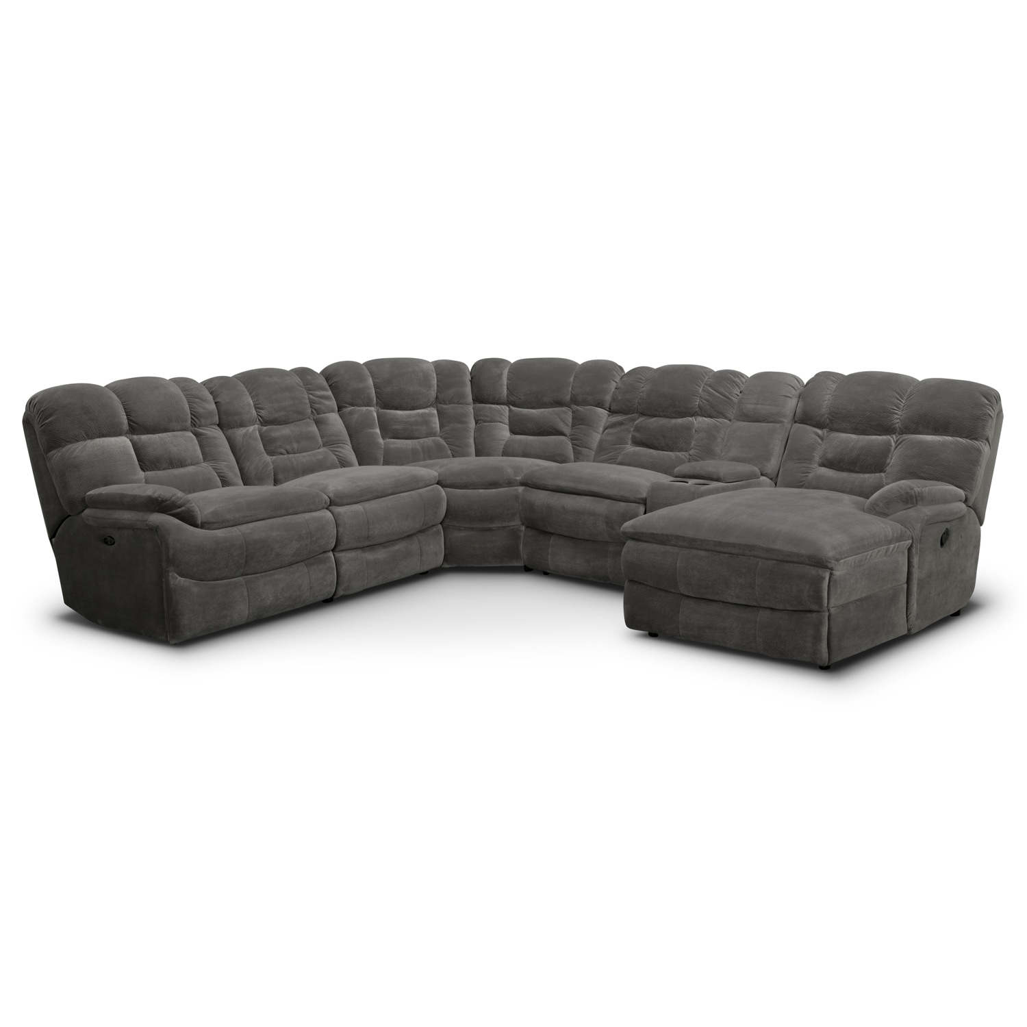 Living room furniture big softie ii 6 pc power reclining for 6 pc sectional living room