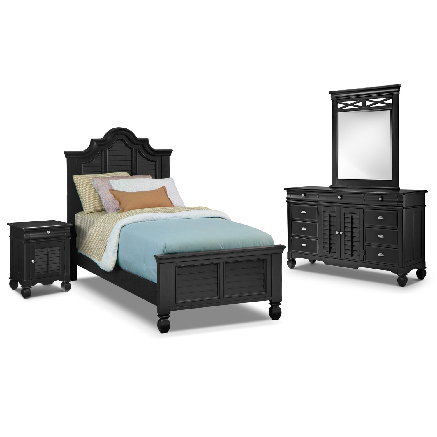 [Plantation Cove Black II 6 Pc. Twin Bedroom]