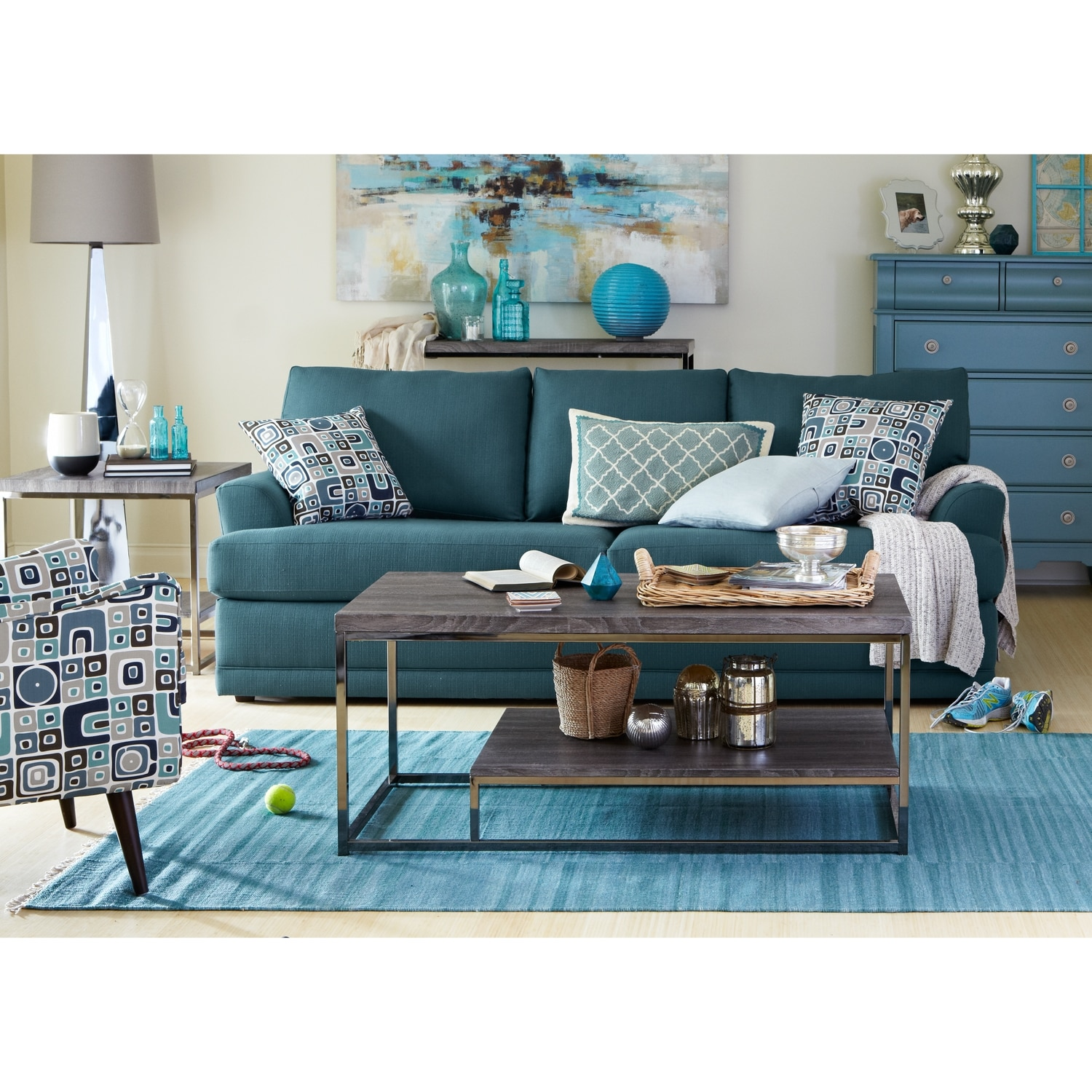 Calamar teal upholstery accent chair for Teal accent chairs in living room