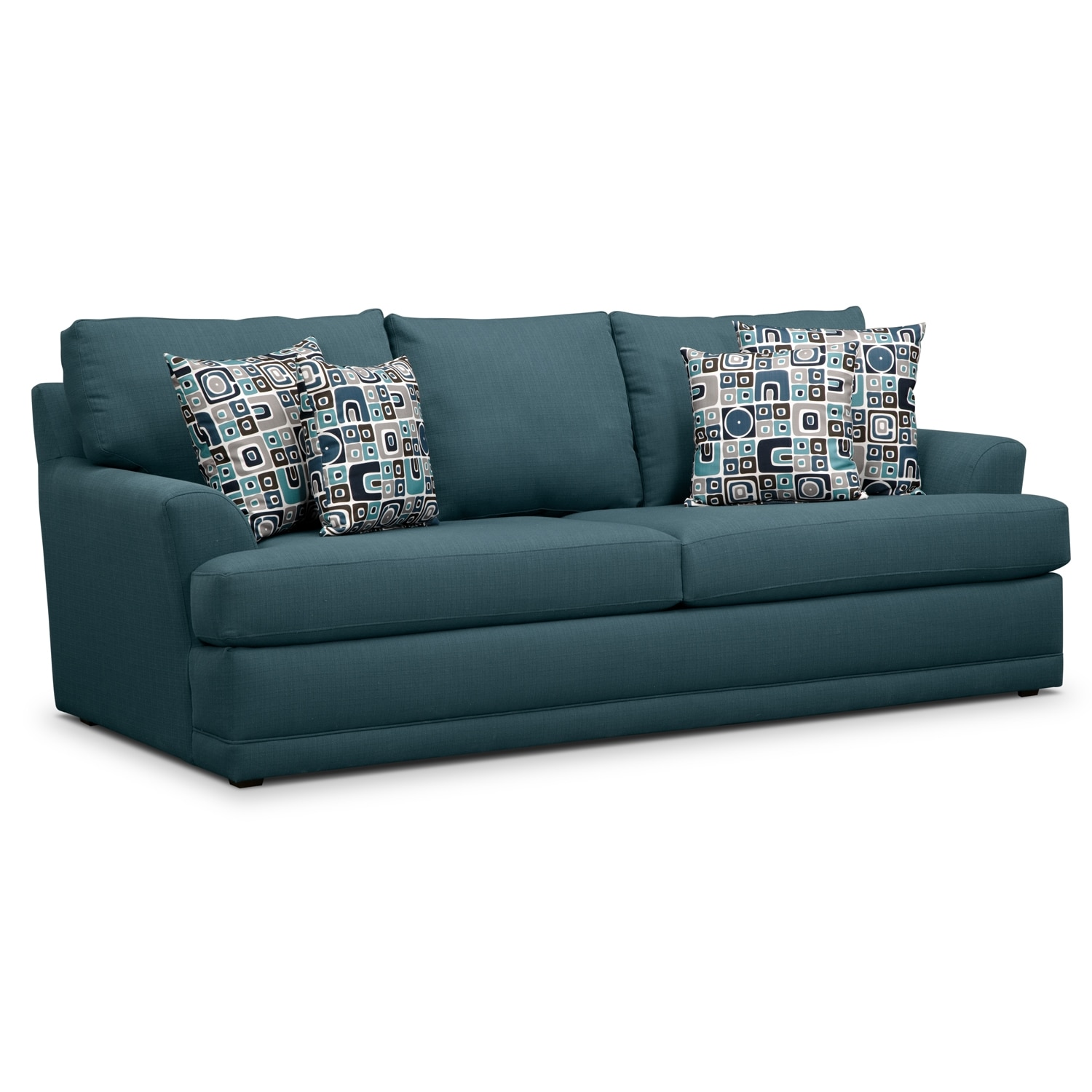 Calamar Teal Upholstery Queen Memory Foam Sleeper Sofa
