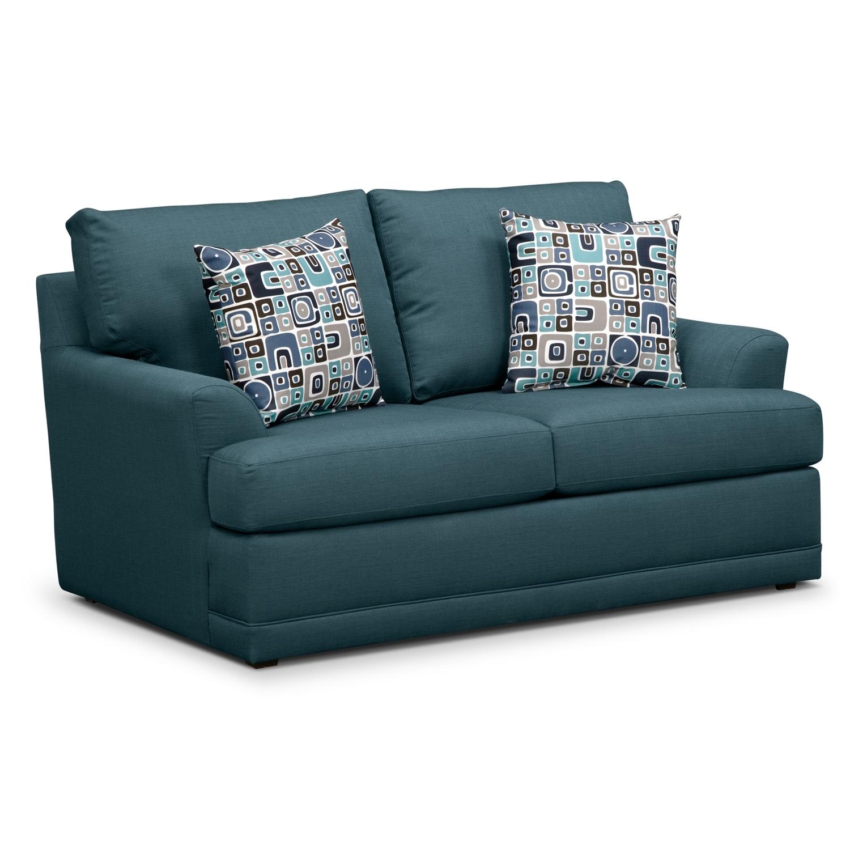 Calamar Teal Loveseat Furniture Com
