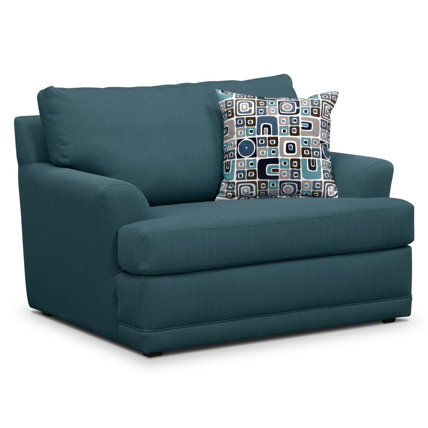 Calamar teal chair and a half for Chaise and a half