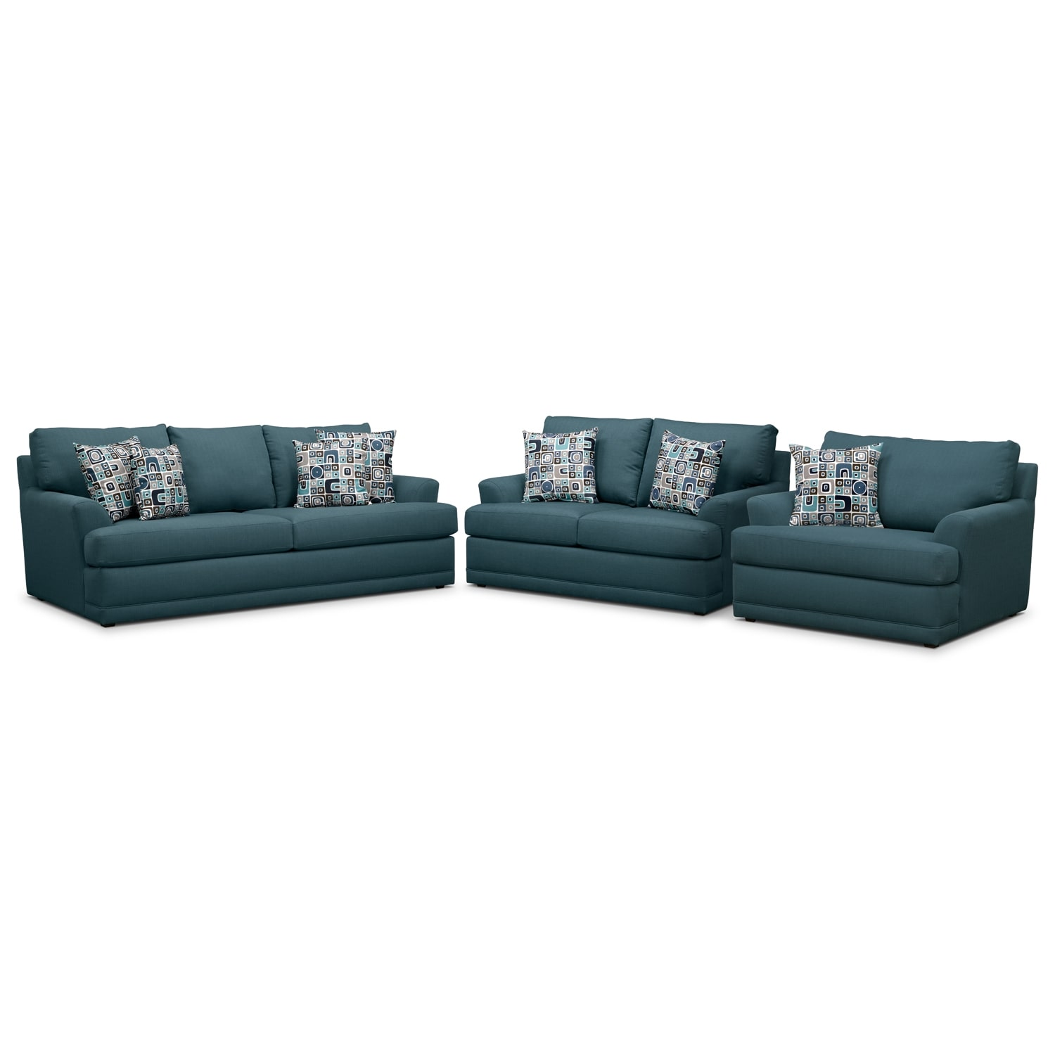 Kismet Sofa Loveseat and Chair and a Half Set Teal American