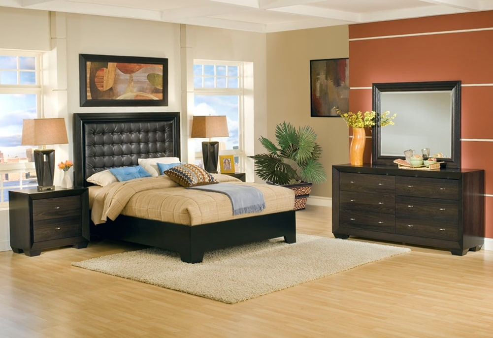 Bedroom Furniture - Einstein 5-Piece King Bedroom Set - Dark Brown