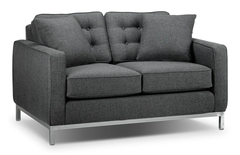 Living Room Furniture - Brunswick Loveseat - Charcoal