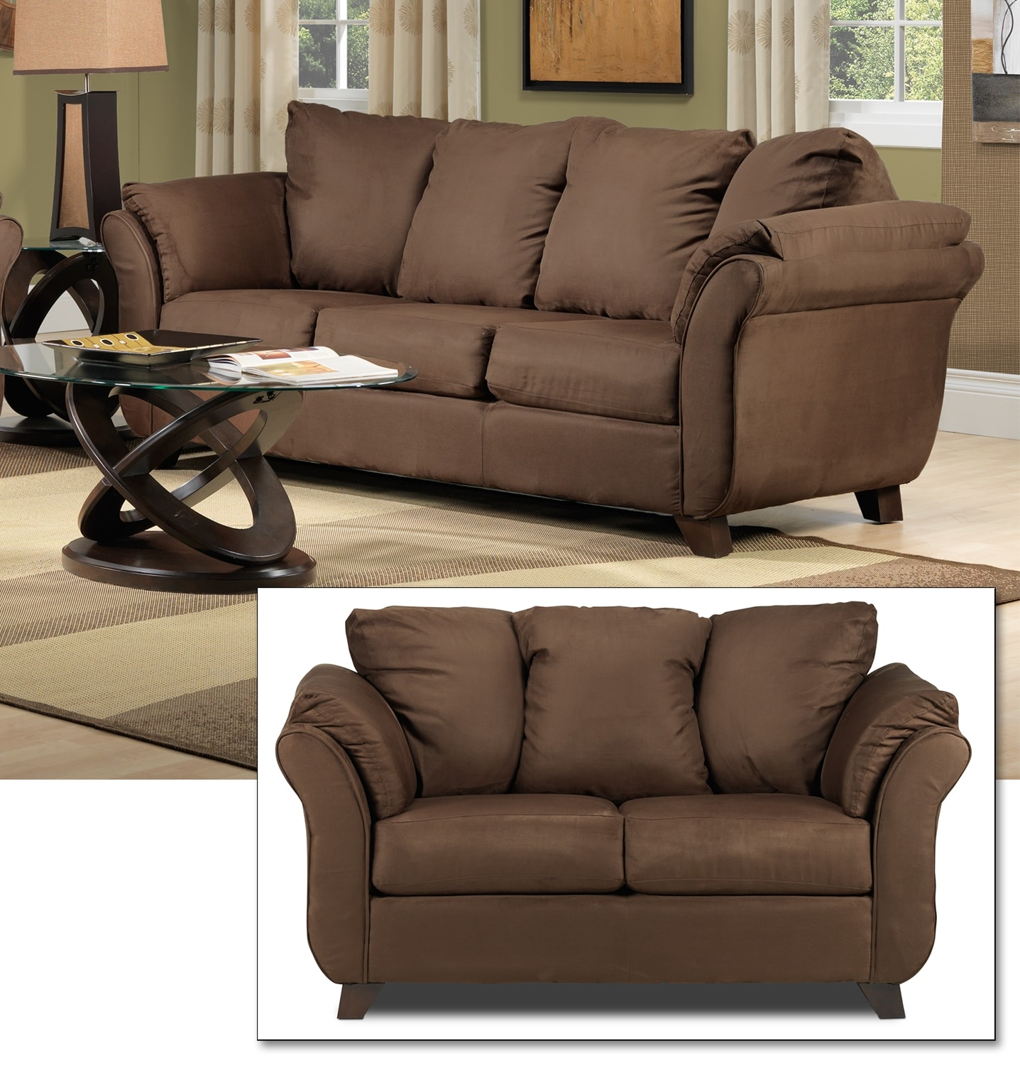Leon S Furniture Sectional Sofas: Collier Sofa - Chocolate