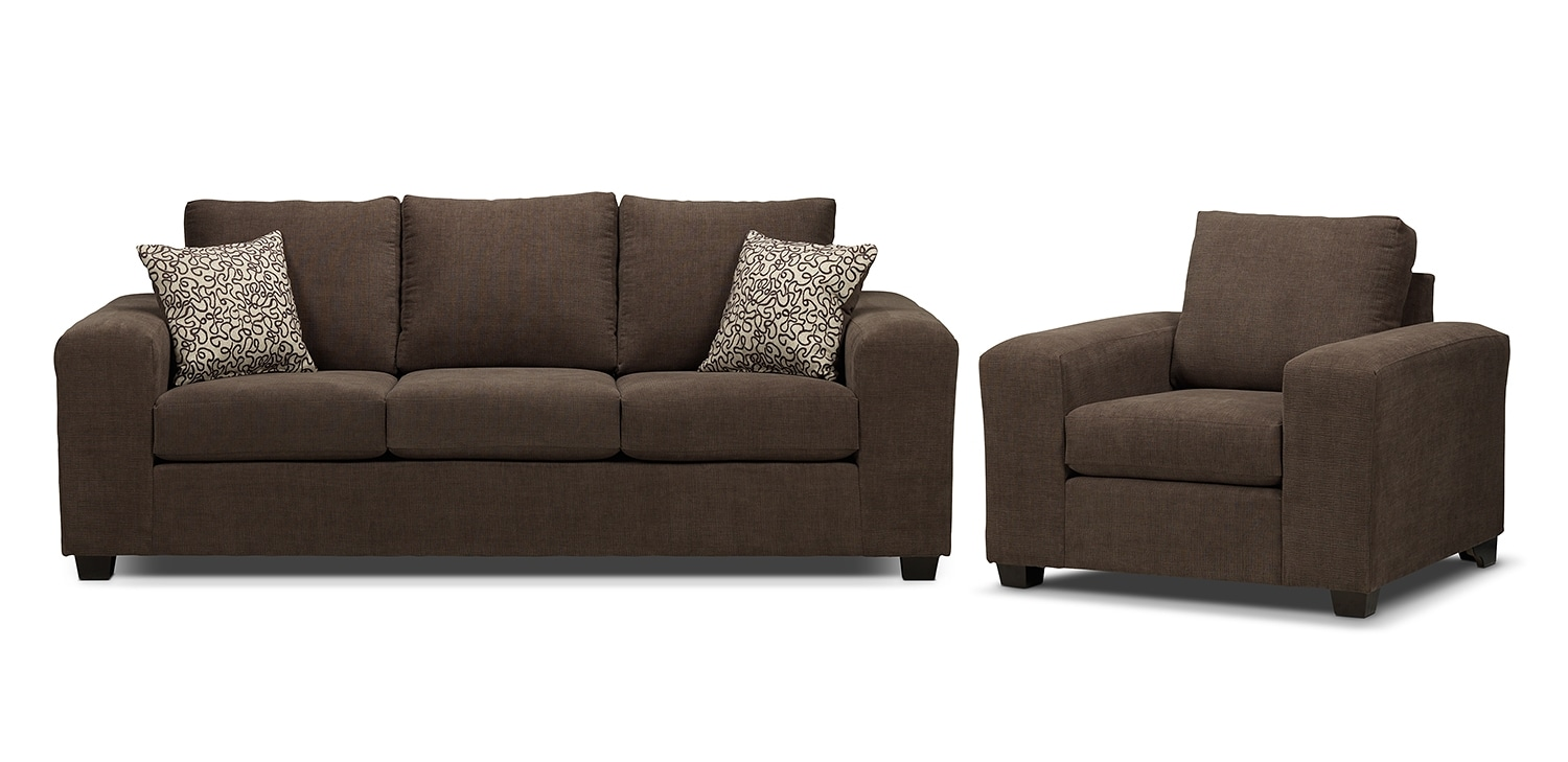 Fava Sofa and Chair Set - Light Brown