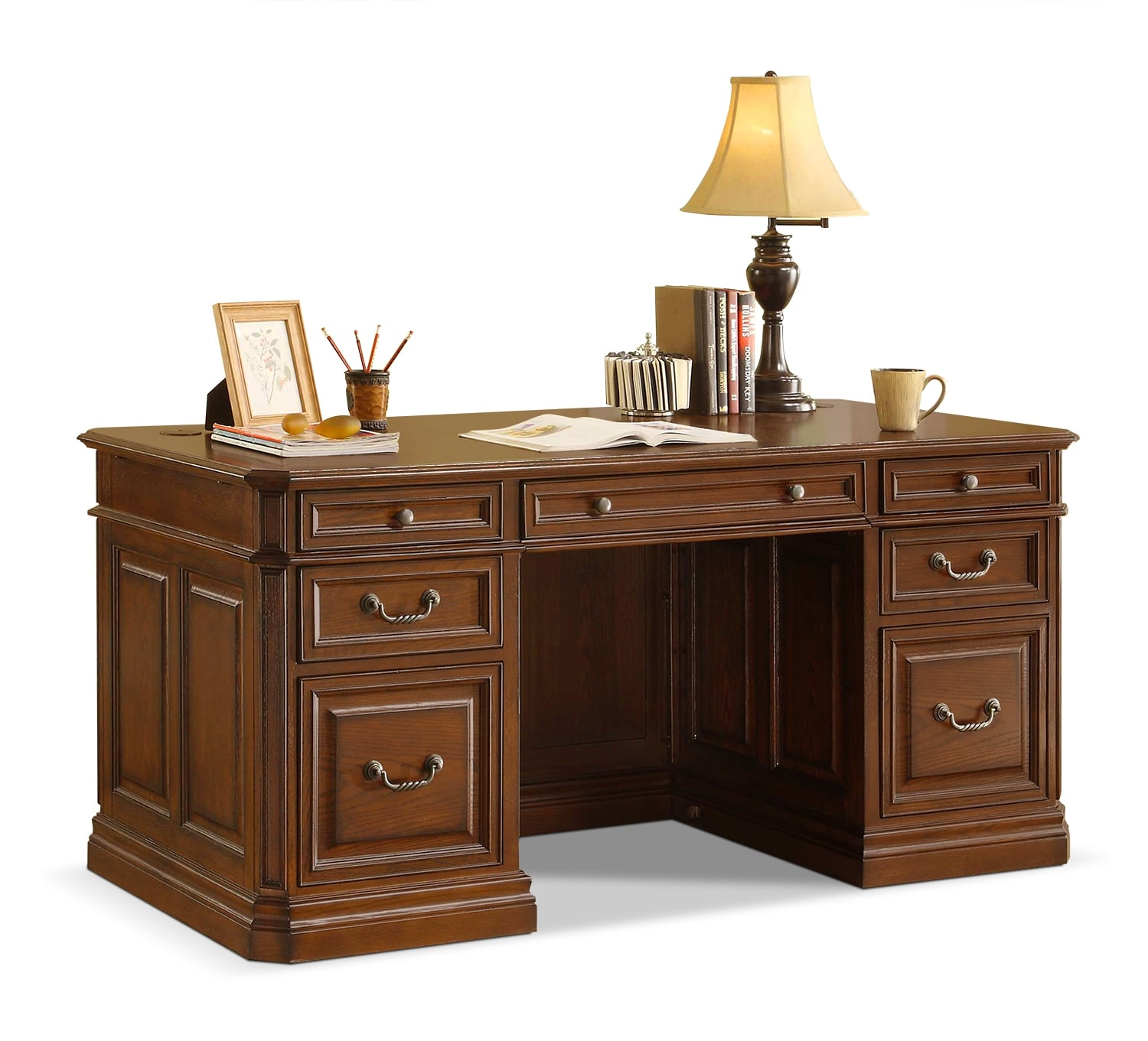 Johanne Executive Desk - Chocolate Oak