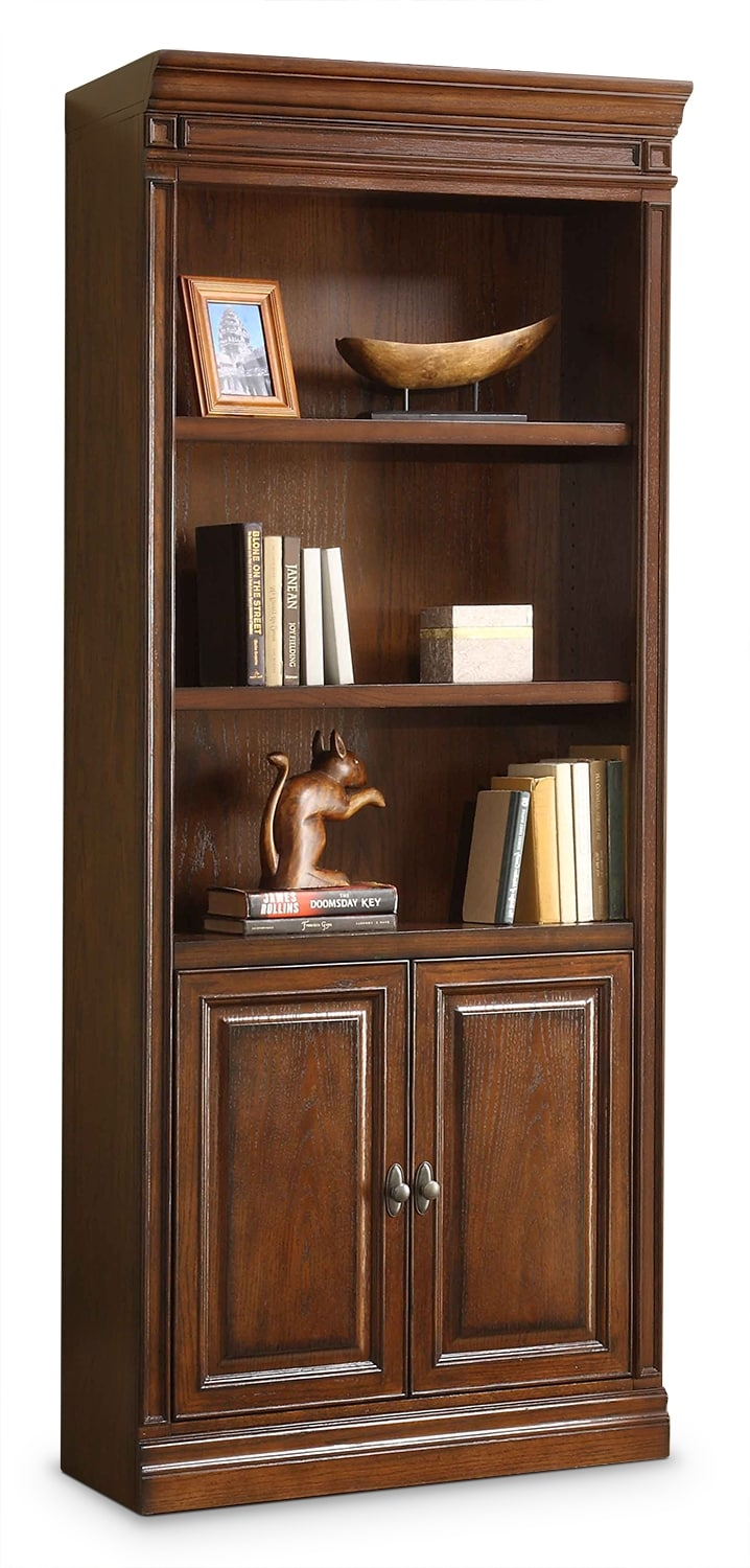 Home Office Furniture - Johanne Bookcase w/ Doors - Chocolate Oak