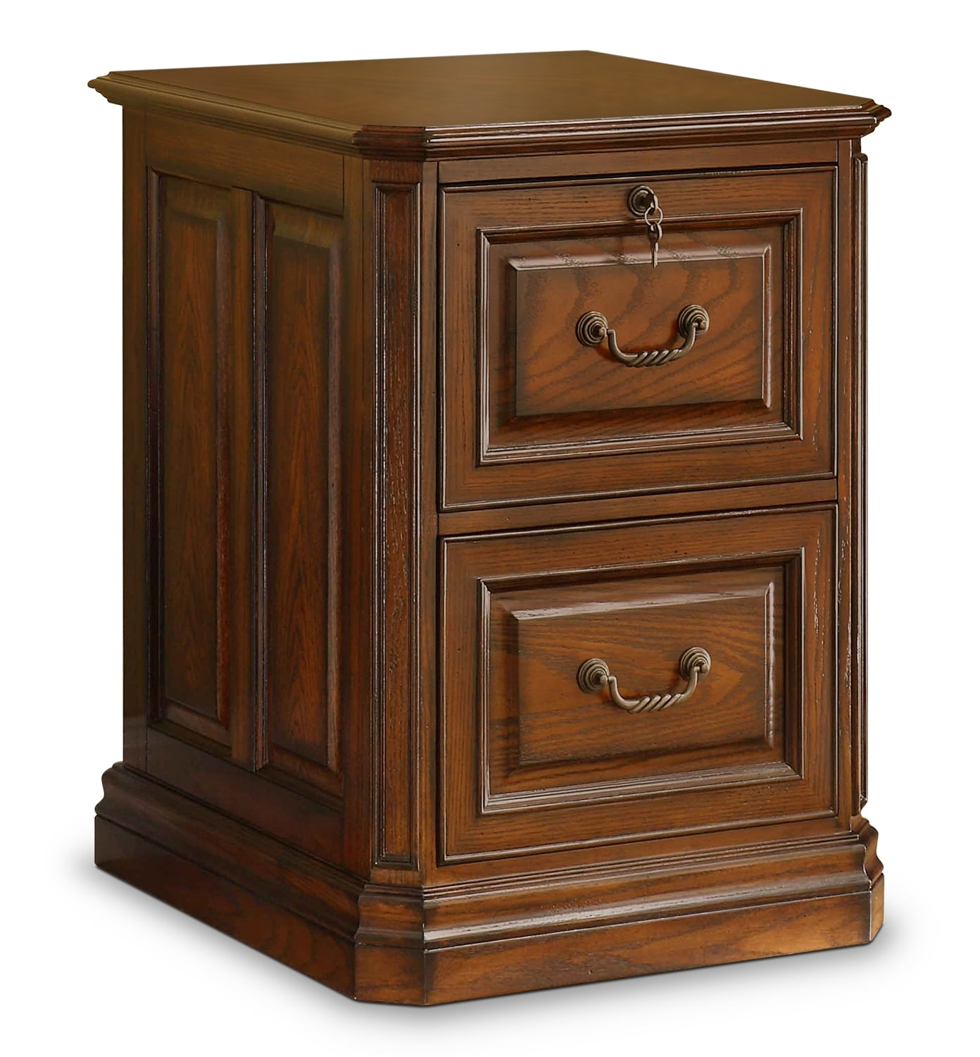 Home Office Furniture - Johanne 2-Drawer File Cabinet - Chocolate Oak