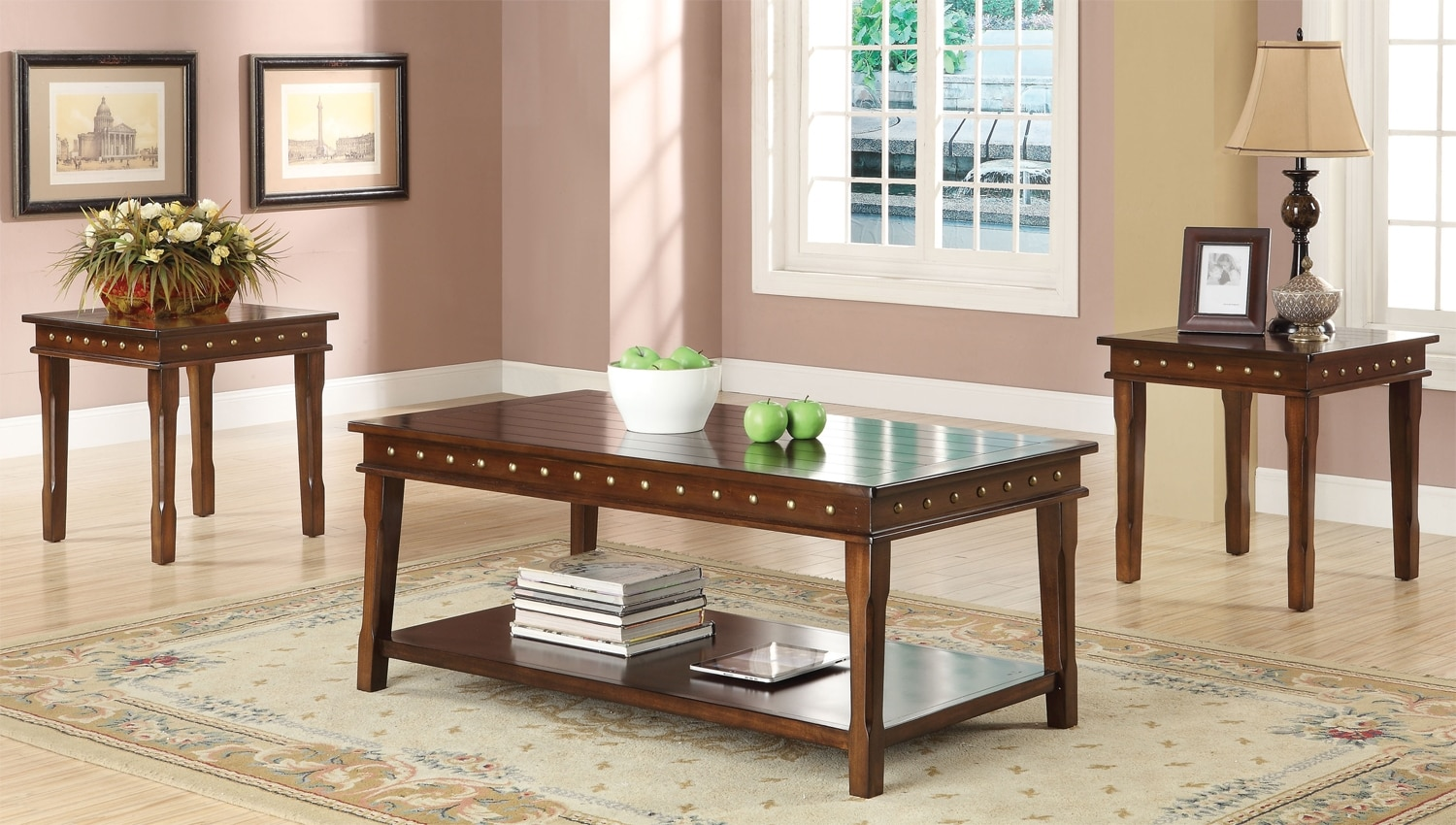 Accent and Occasional Furniture - Mitra 3-Piece Table Set - Walnut