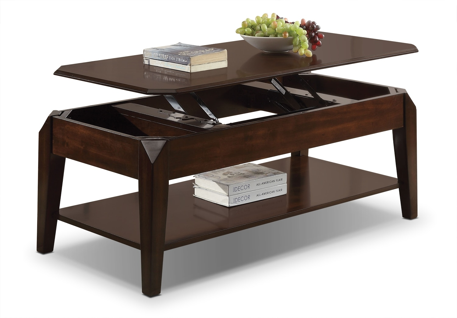 Docila lift top coffee table espresso leon 39 s for K furniture coffee table