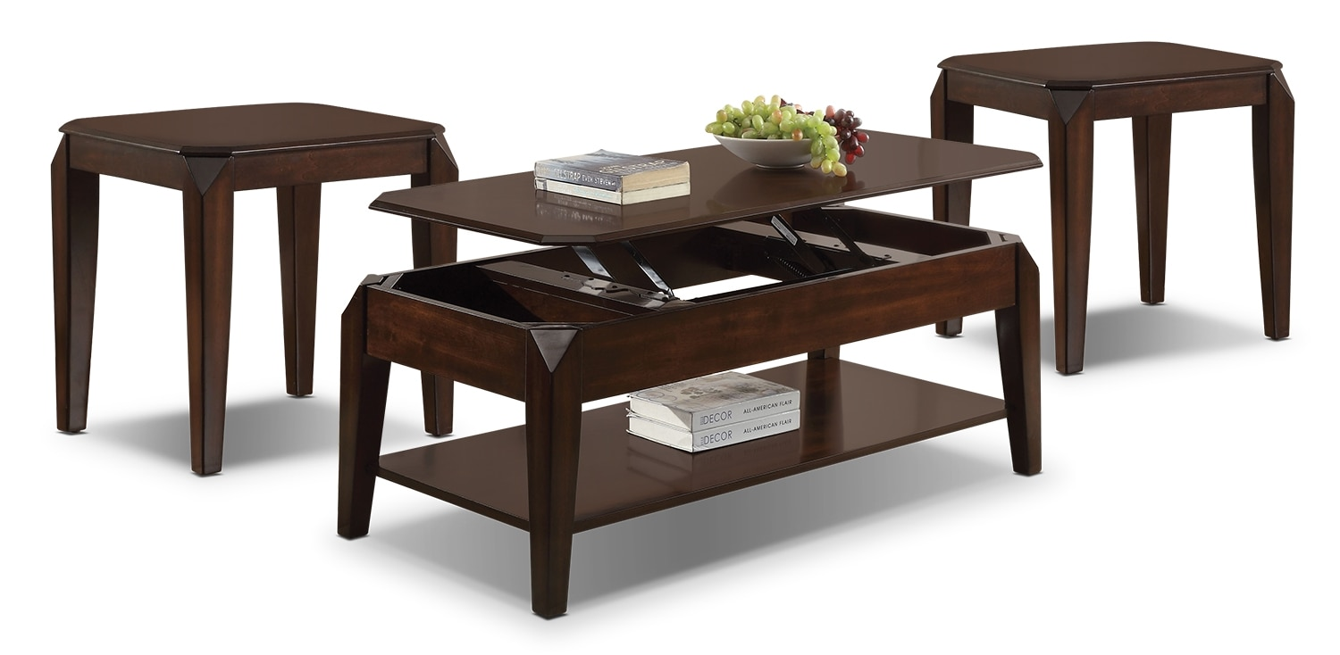 Docila Lift-Top Coffee Table and Two End Tables - Espresso
