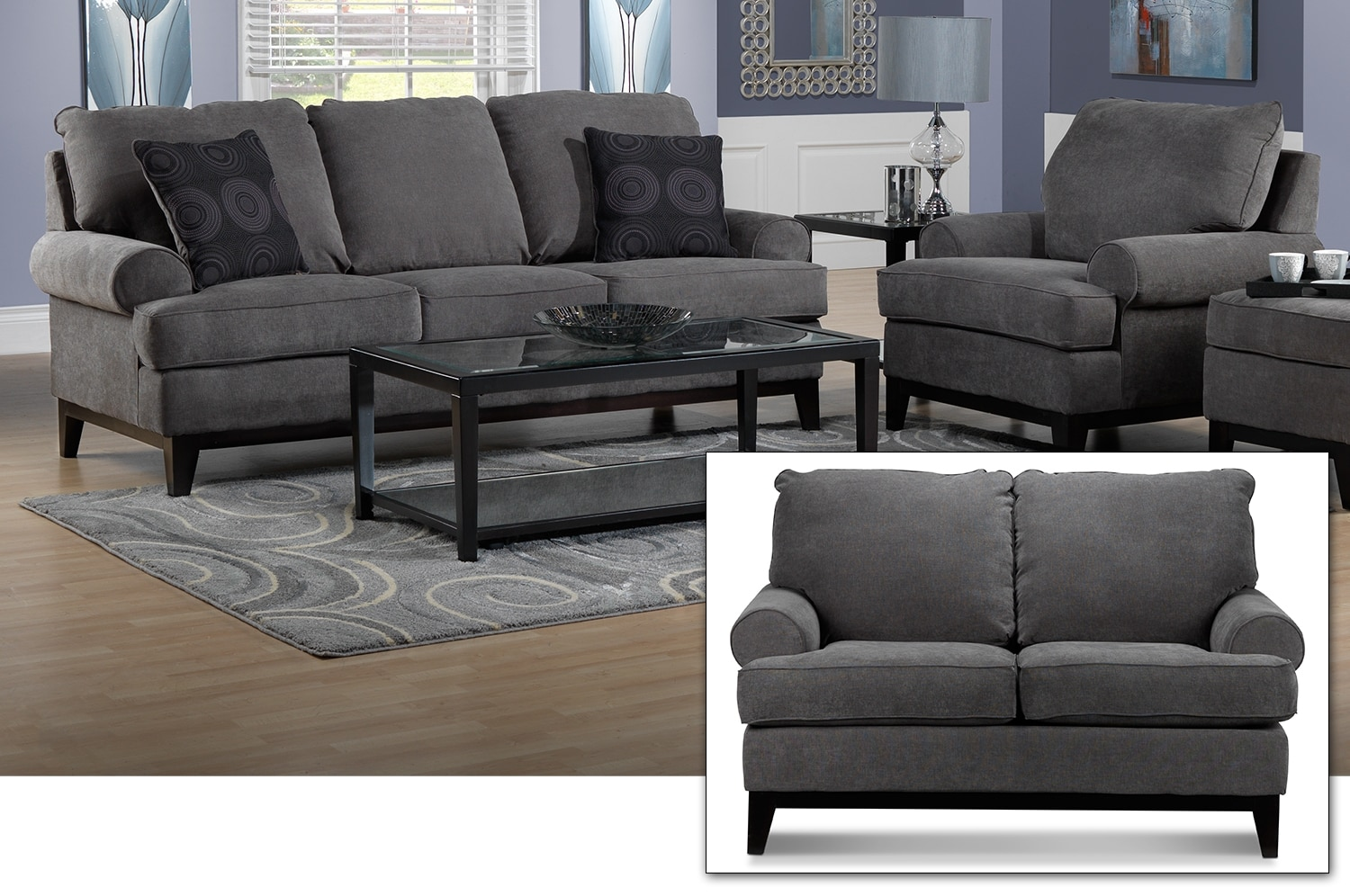 Crizia Sofa, Loveseat and Chair Set - Dark Grey