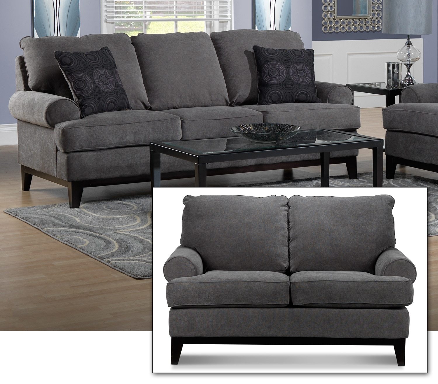 Crizia Sofa and Loveseat Set - Dark Grey