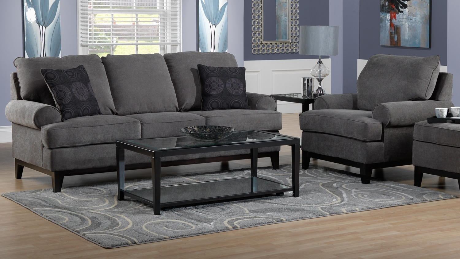 Crizia Sofa and Chair Set - Dark Grey