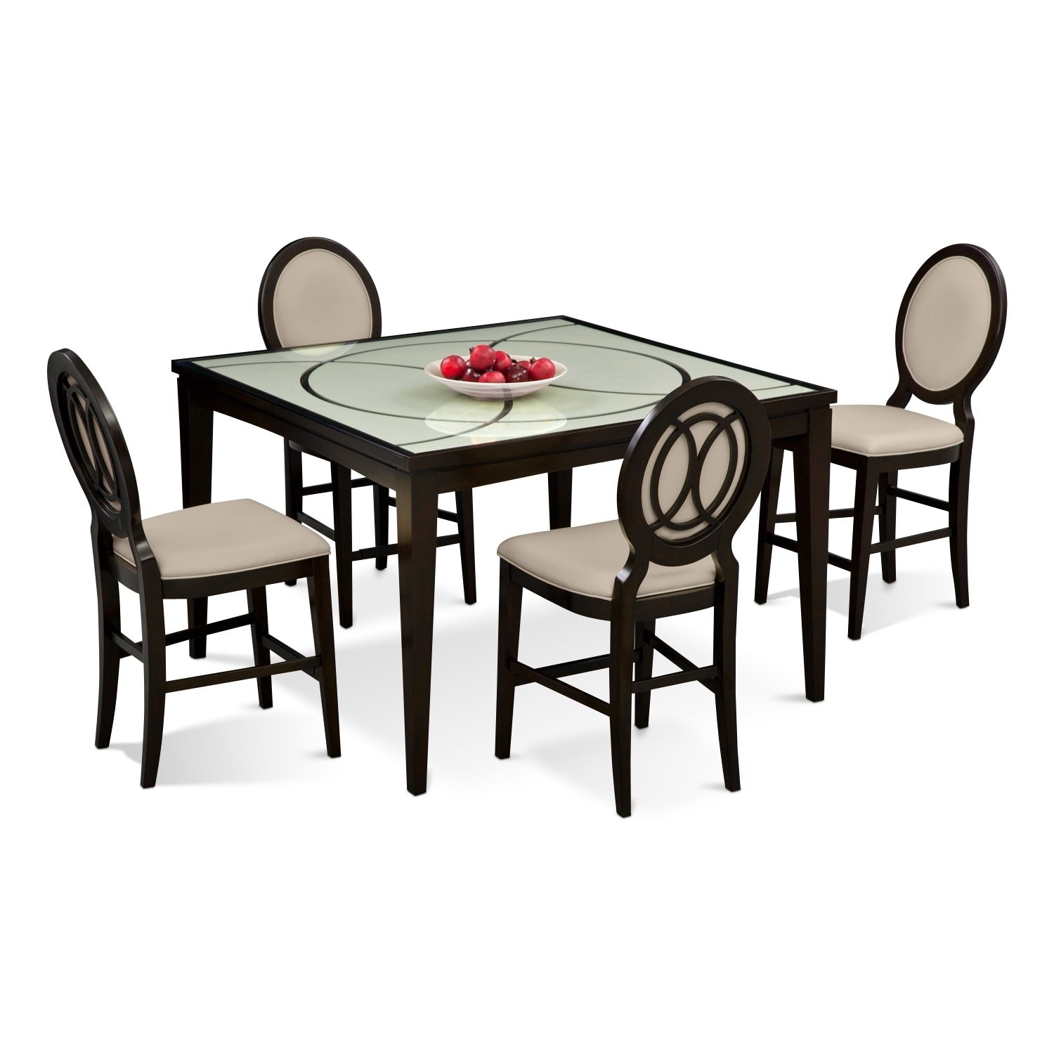 Value City Dining Room Furniture: Cosmo Counter-Height Table And 4 Chairs - Merlot