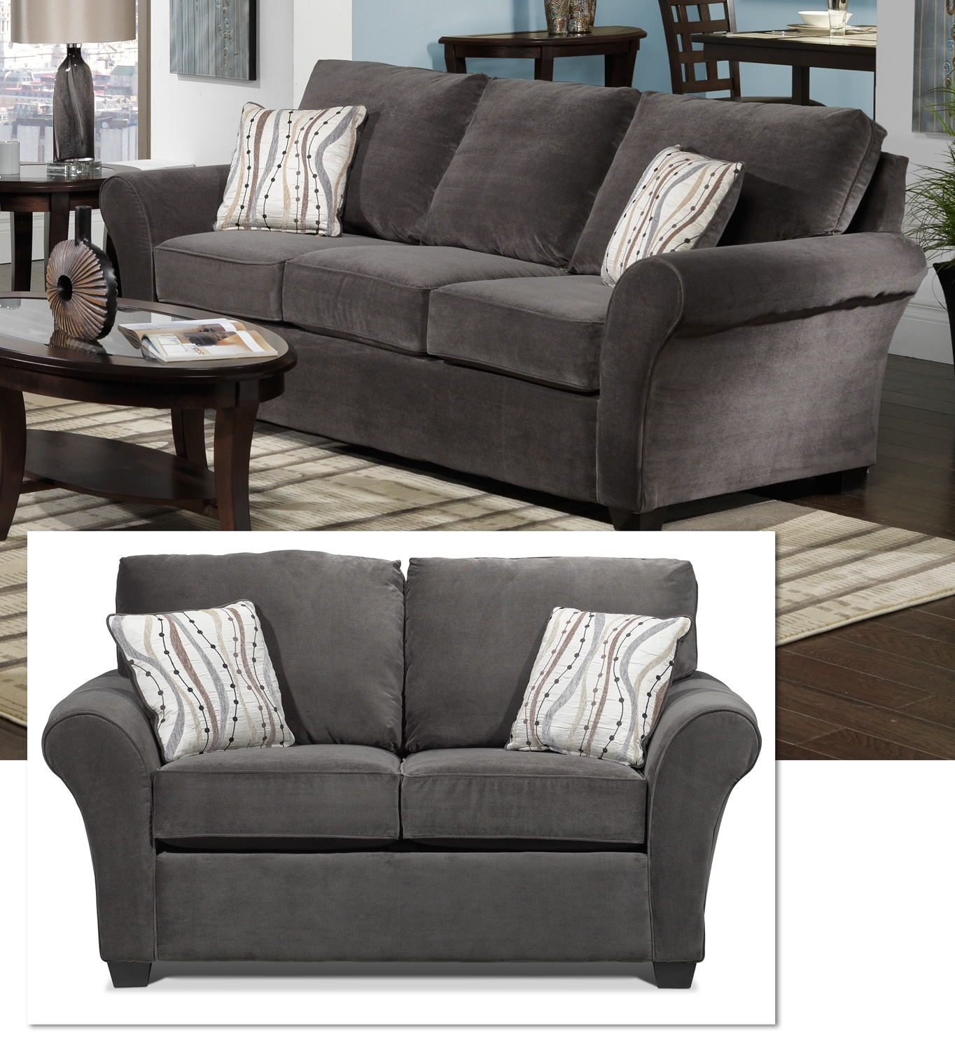 Langley Sofa and Loveseat Set - Charcoal