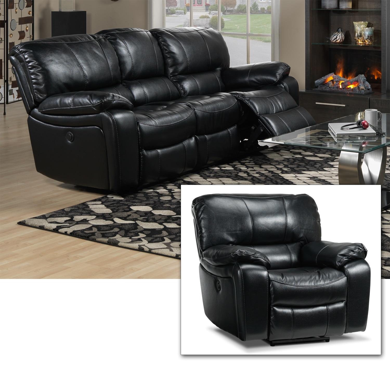 Santorini 2 Pc. Living Room Package w/ Chair - Black