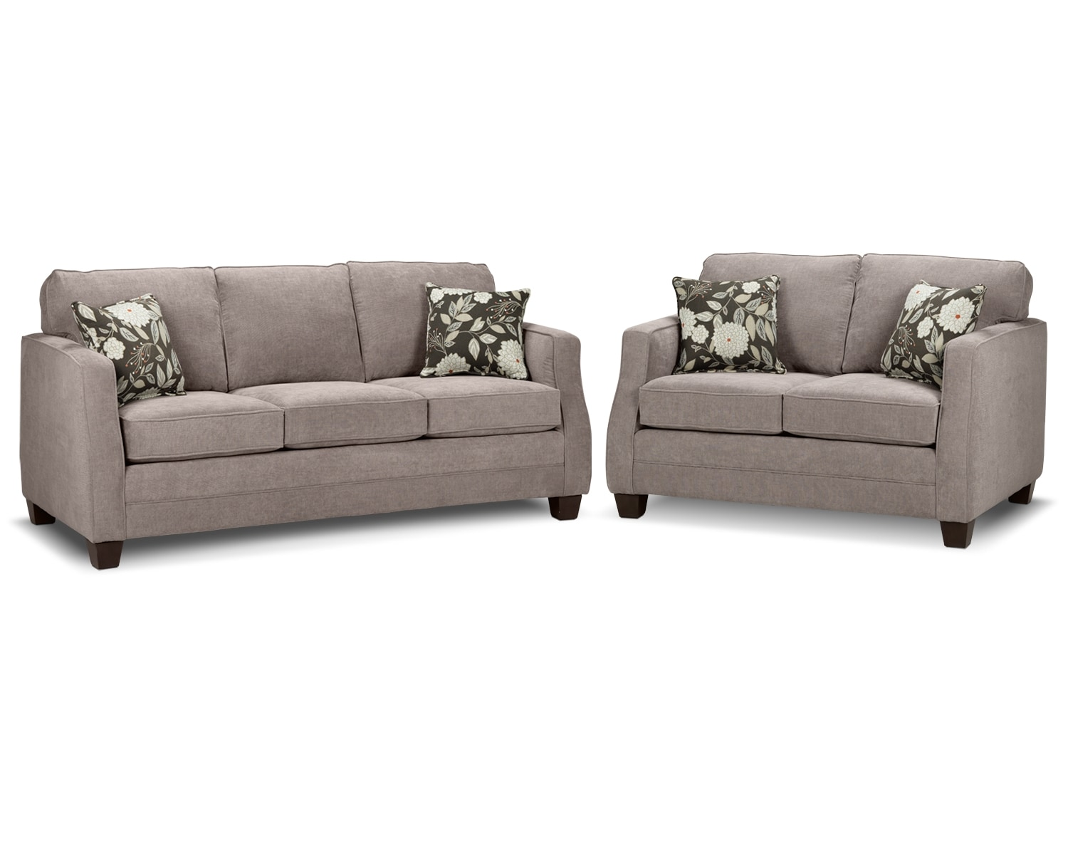 Agnes Sofa and Loveseat Set - Taupe