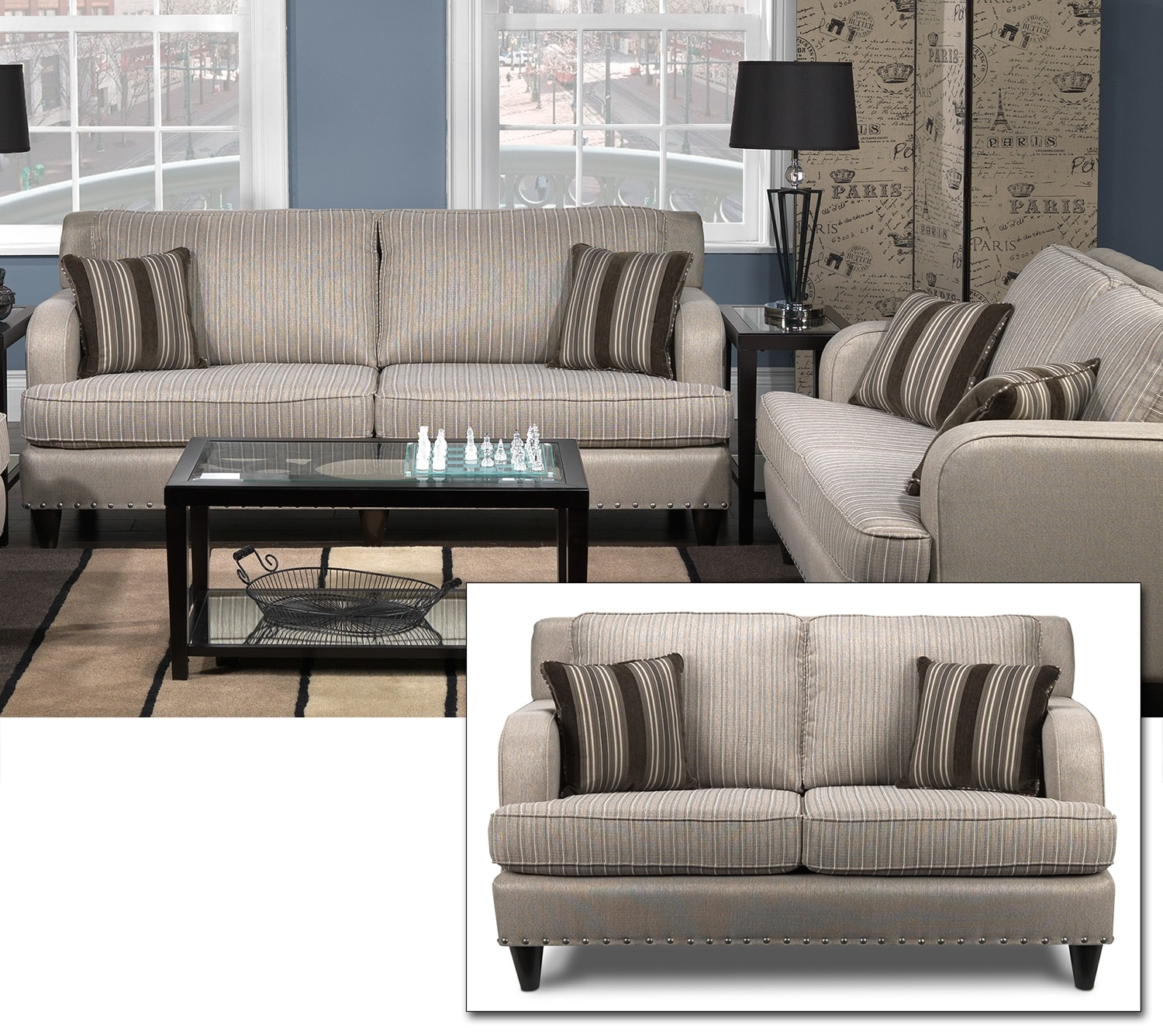 Marielle Sofa and Loveseat Set - Light Brown