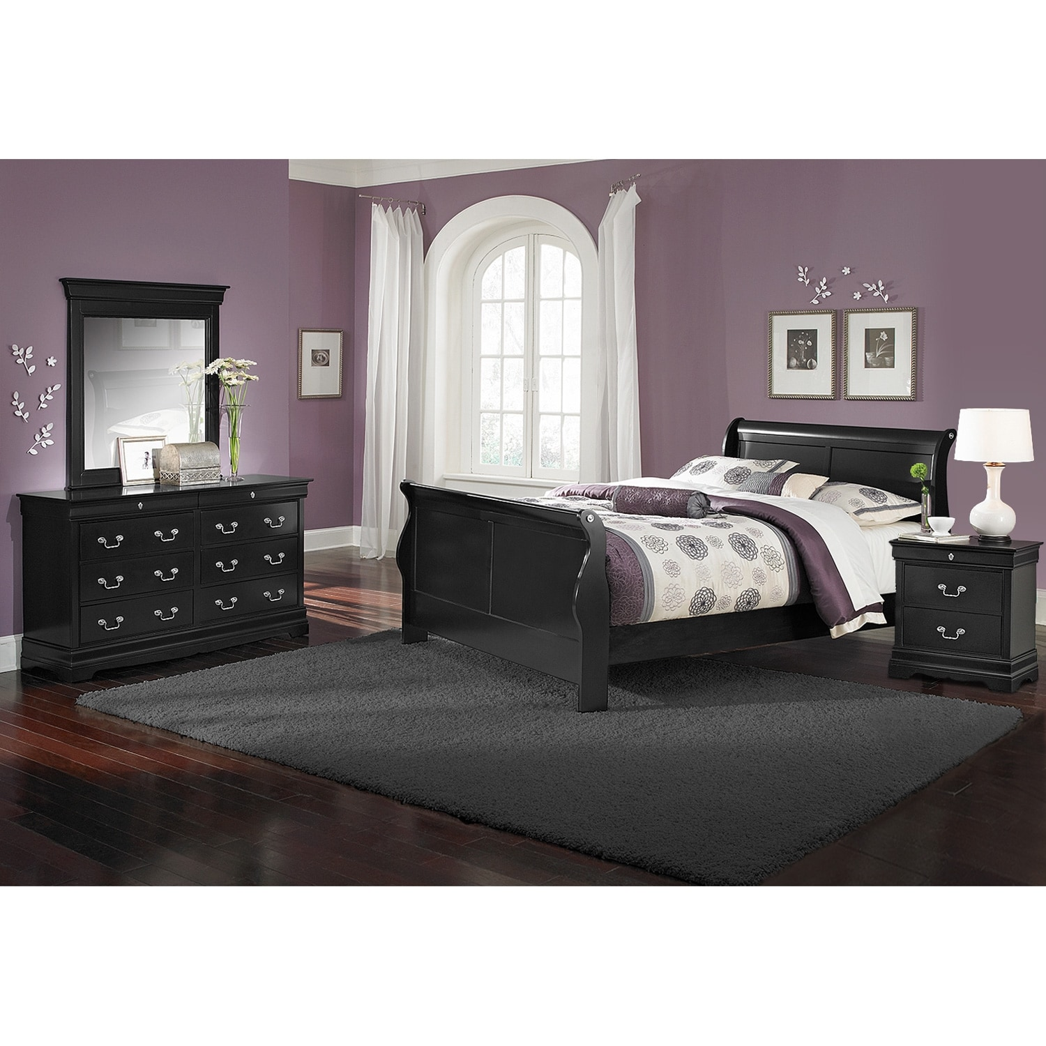 Neo classic youth 6 piece full bedroom set black for Bedroom 6 piece set