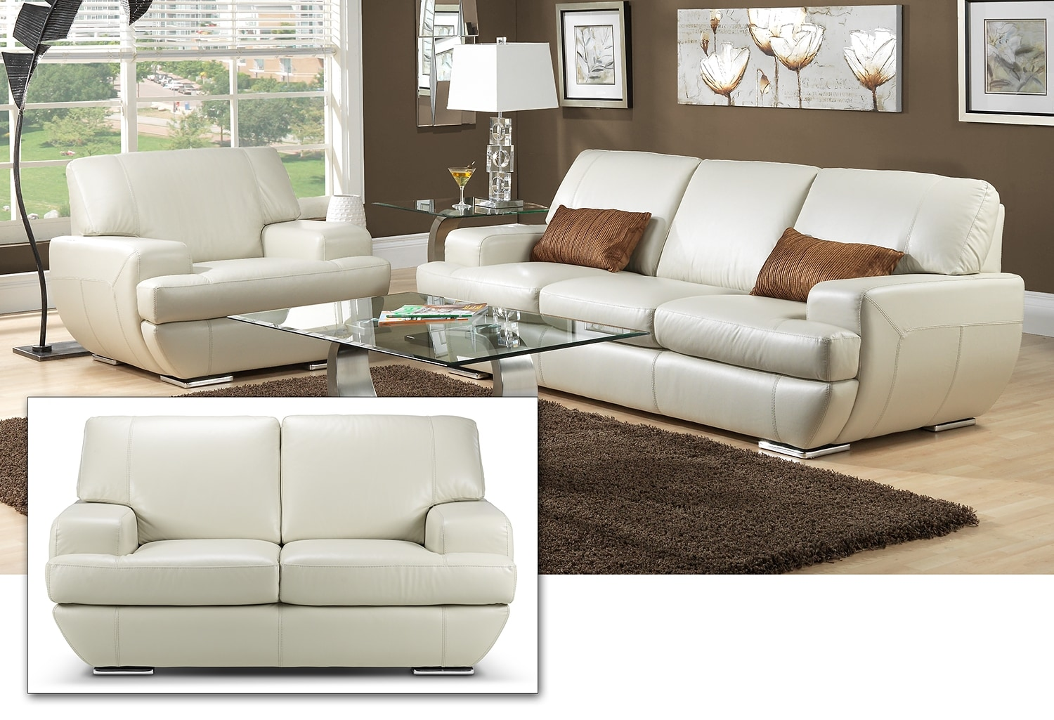miranda sofa loveseat and chair set off white leon 39 s