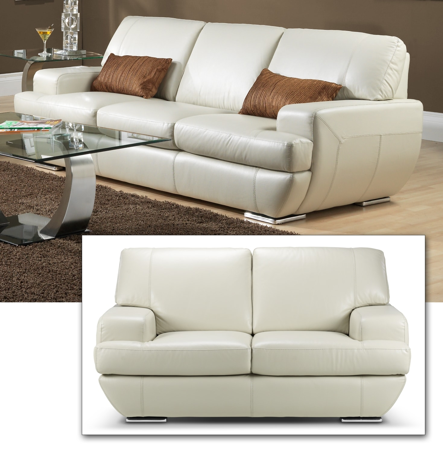 Leon S Furniture Sectional Sofas: Miranda Sofa - Off-White