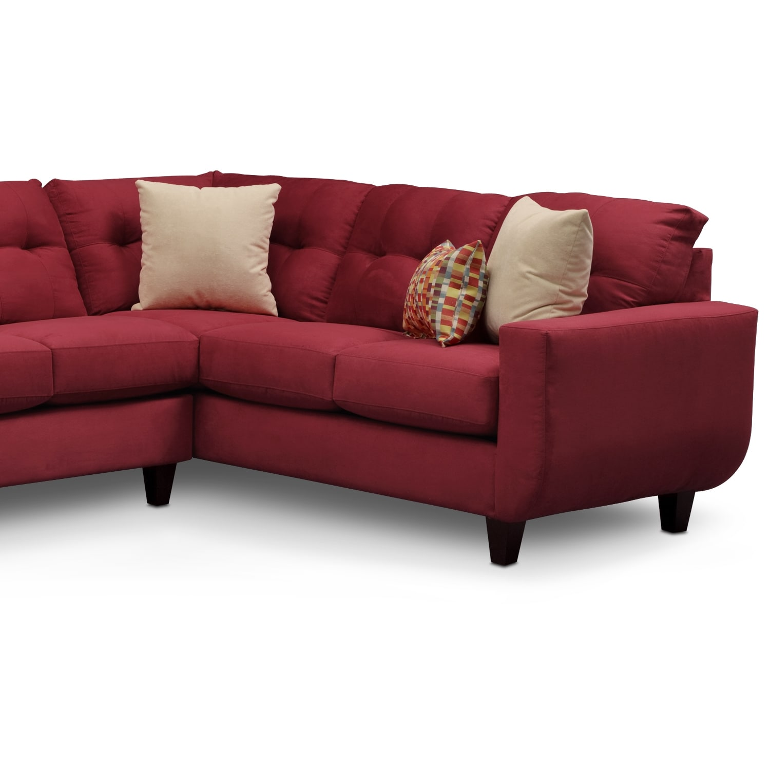 Walker ii red 2 pc sectional furniturecom for Uptown red 2 pc sectional sofa