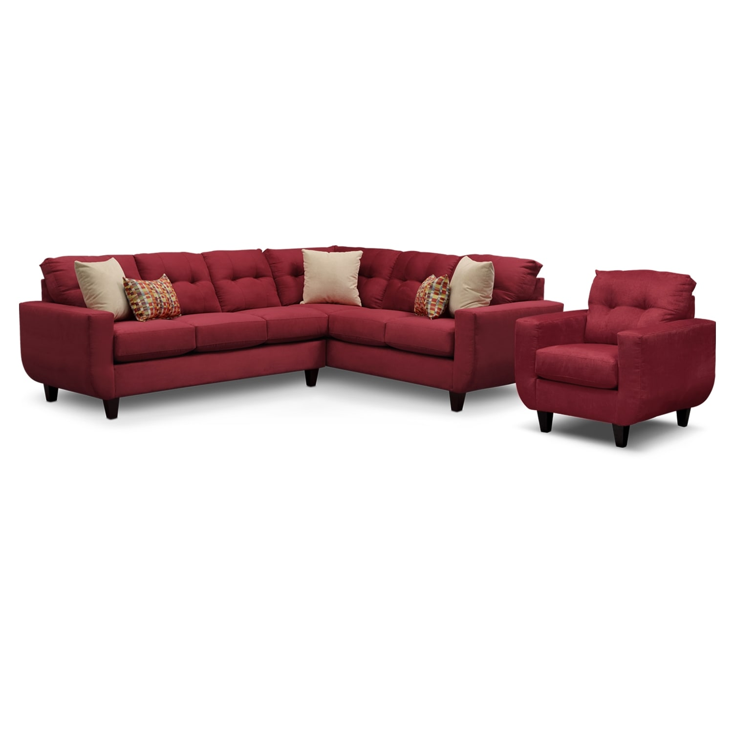 [West Village Red II 2 Pc. Sectional and Chair]