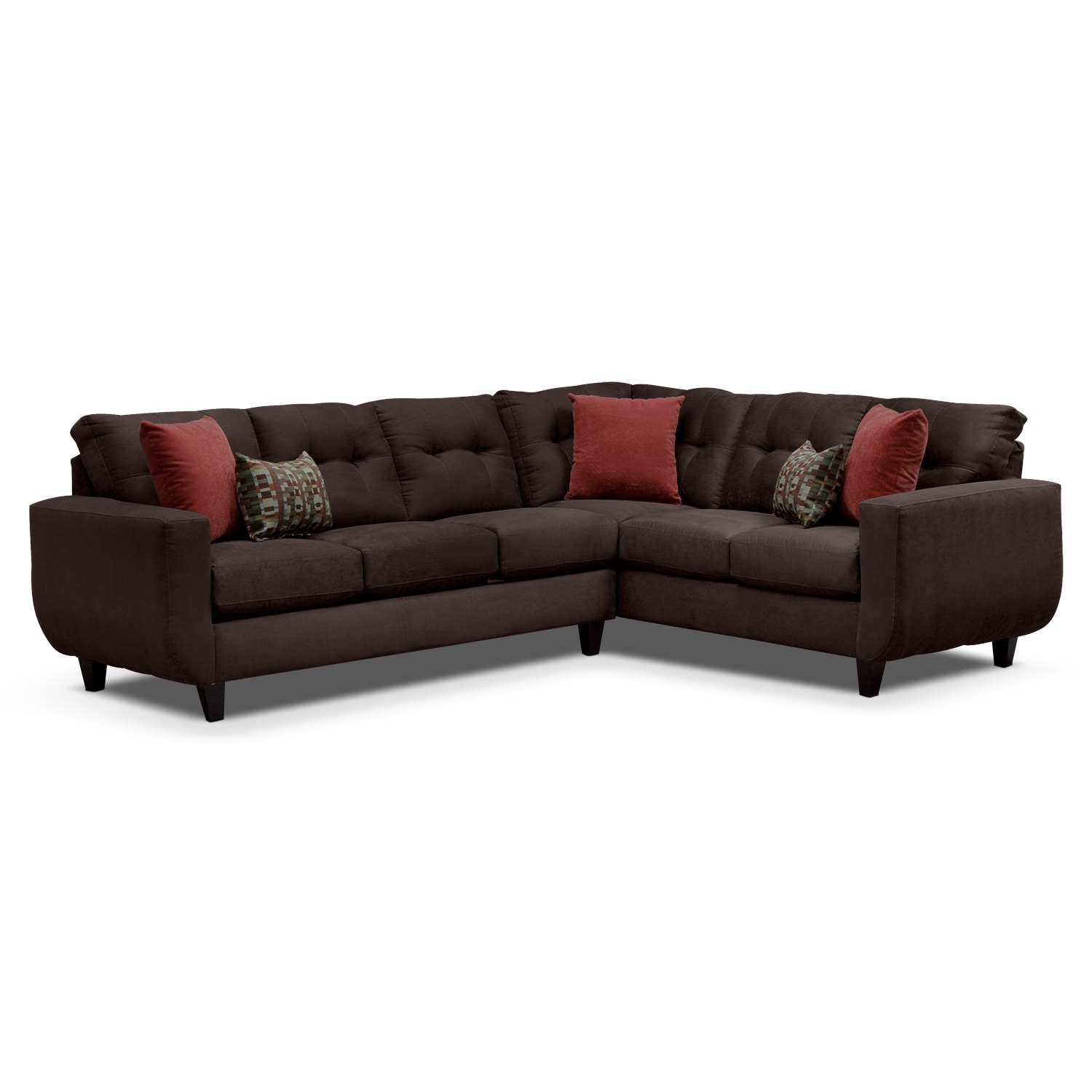 West Village Chocolate Ii Upholstery 2 Pc Sectional Value City Furniture
